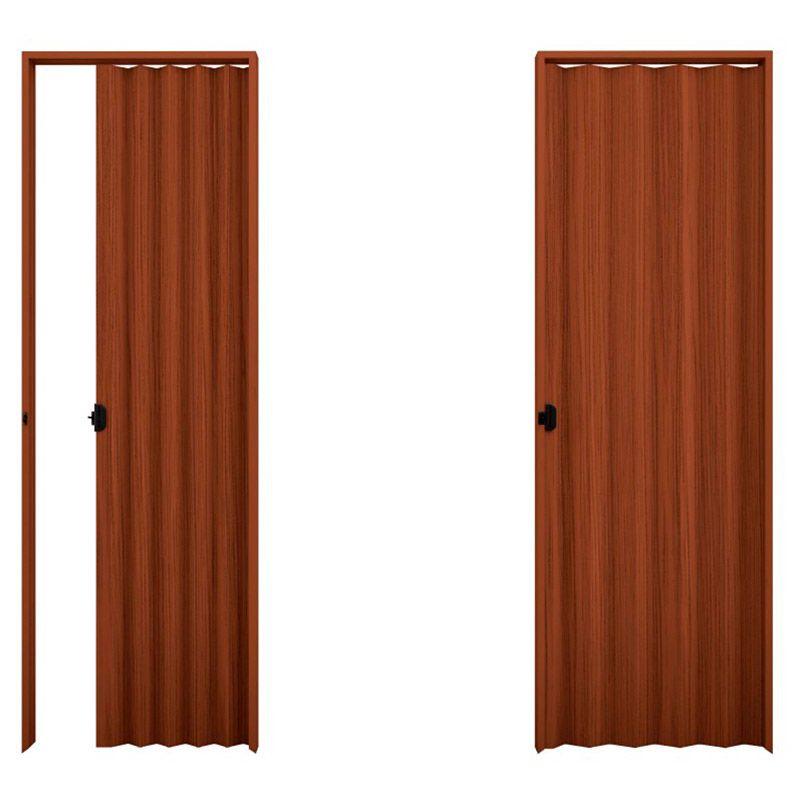 Porta sanfonada em PVC na cor Relevo Mogno 0,80x2,10M