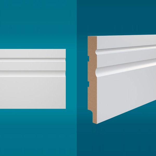 Rodapé em MDF 210 x 15 cm Branco - Linha Essencial E-02