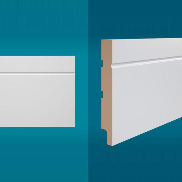 Rodapé em MDF 210 x 15 cm Branco - Linha Essencial E-03