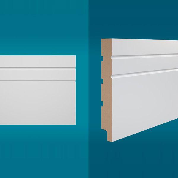Rodapé em MDF 210 x 20 cm Branco - Linha Essencial E-01