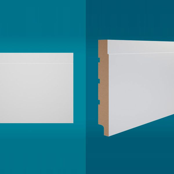 Rodapé em MDF 210 x 20 cm Branco - Linha Essencial E-06