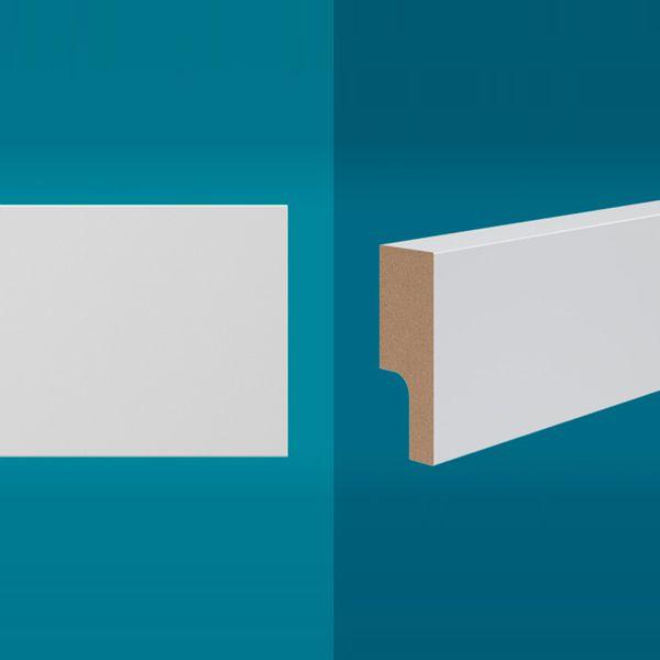 Rodapé em MDF 210 x 5 cm Branco - Linha Essencial E-05