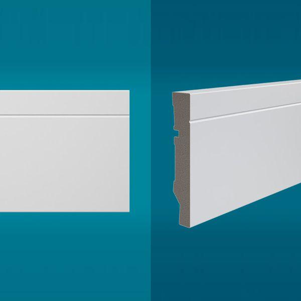 Rodapé em poliestireno 210 x 10 cm Branco - Linha MAXX M-03