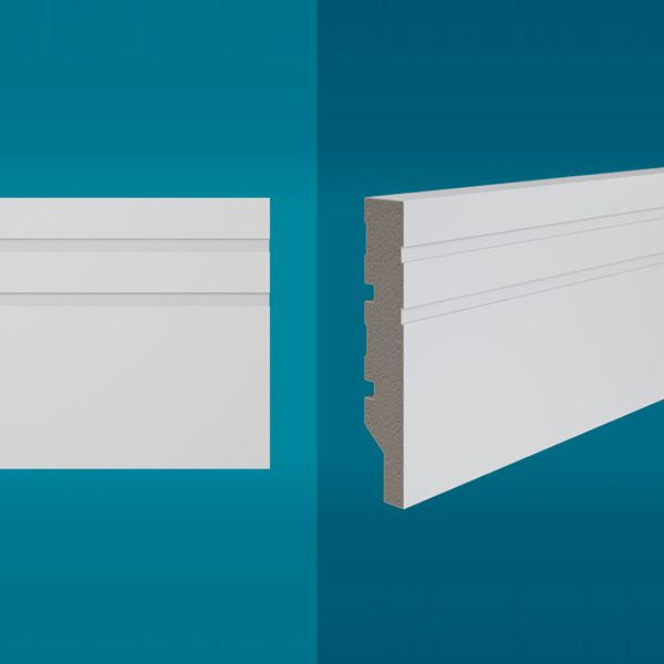 Rodapé em poliestireno 210 x 10 cm Branco - Linha MAXX M-04