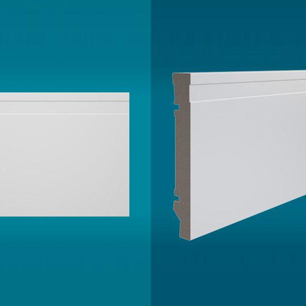 Rodapé em poliestireno 210 x 15 cm Branco - Linha MAXX M-01