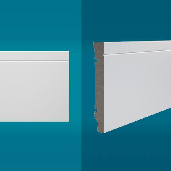 Rodapé em poliestireno 210 x 15 cm Branco - Linha MAXX M-03