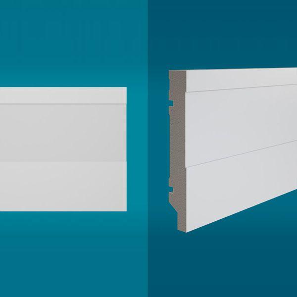 Rodapé em poliestireno 210 x 15 cm Branco - Linha MAXX M-04