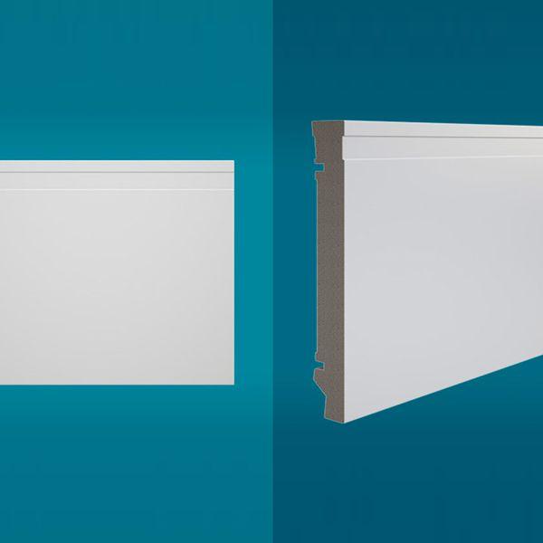 Rodapé em poliestireno 210 x 20 cm Branco - Linha MAXX M-01