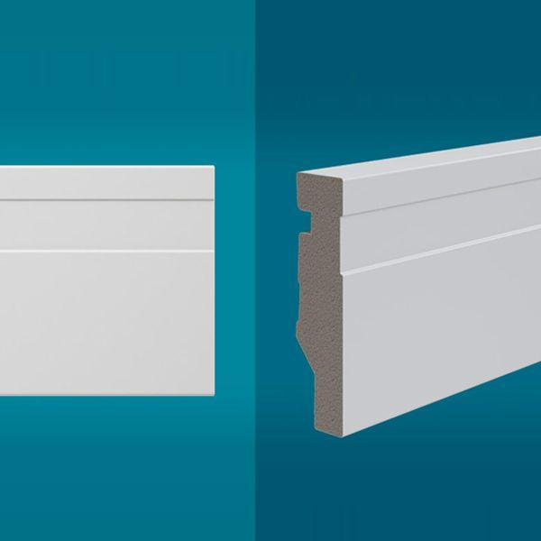 Rodapé em poliestireno 210 x 7 cm Branco - Linha MAXX M-01