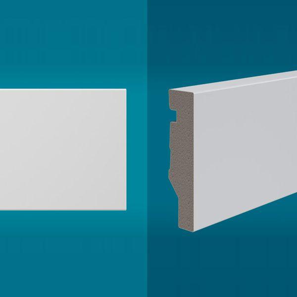 Rodapé em poliestireno 210 x 7 cm Branco - Linha MAXX M-02