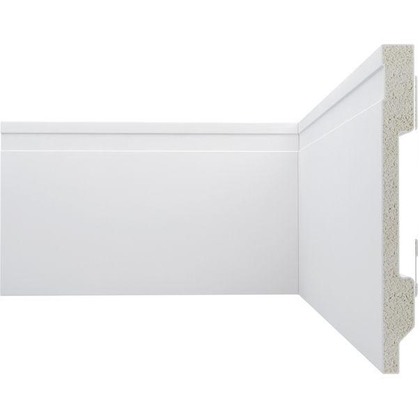 Rodapé poliestireno 240 x 15 cm com friso - Branco