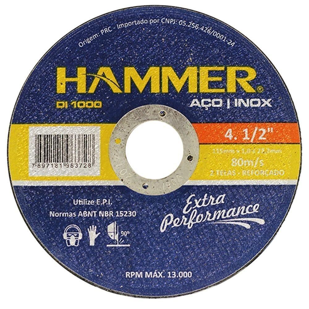 10 Unidades Disco de Corte Fino 115mm x 1mm Aço Inox DI-1000 Hammer