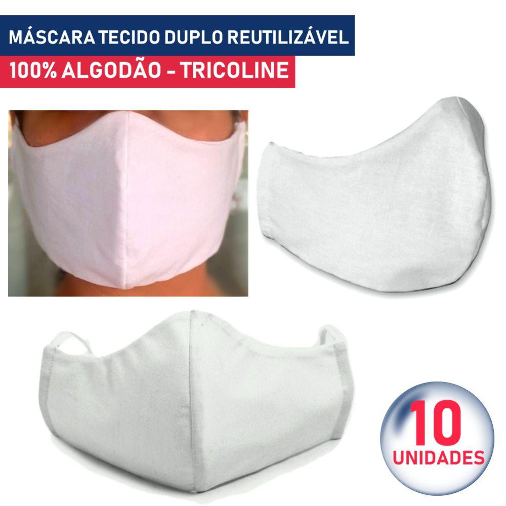 10 Unidades Máscara Tecido Duplo 100% Algodão Tricoline Lavável Reutilizável - Lunak´s