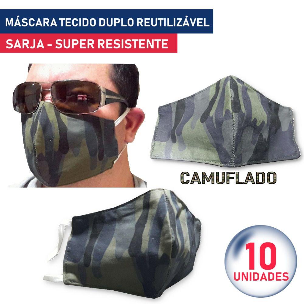 10 Unidades Máscara Tecido Duplo Reutilizável Resistente Sarja Camuflado - Lunak´s