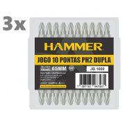 3 Unidades Jogo Bits Phillips Ponta Ph2 Dupla 65mm 10 pçs Hammer