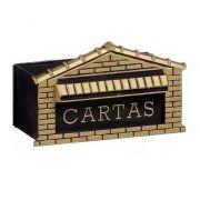 Caixa de Correio Pvc Preto e Dourado 25cm Frente Real Caixas