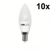 Kit 10 Lampadas Vela Led E14 4w 3000k (Luz Morna/Amarela) MbLed