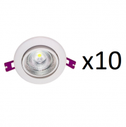 Kit 10 Spots de Embutir Led Smd Redondo Amarelo Demi - 5W