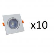 Kit 10 Spots Quadrado de Embutir Easy Led Branco LLUM - 5W