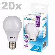Kit 20 Lampada Led Bulbo 9w Bivolt Soquete E27 A60 Galaxy