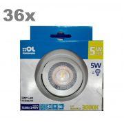 Kit 36 Spot Led 5w Lampada Direcionável Branco Quente 3000K OL