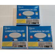 KIT 3 LUM. DE VIDRO RED. DE EMBUTIR 18W C/ LED LUZ MORNA