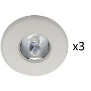 Kit com 3 Luminárias de Embutir Redonda Amarela Led Waterproof LLUM - 3W