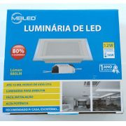 Luminária de Vidro Quadrada de Embutir Luz Morna MBLED - 12W