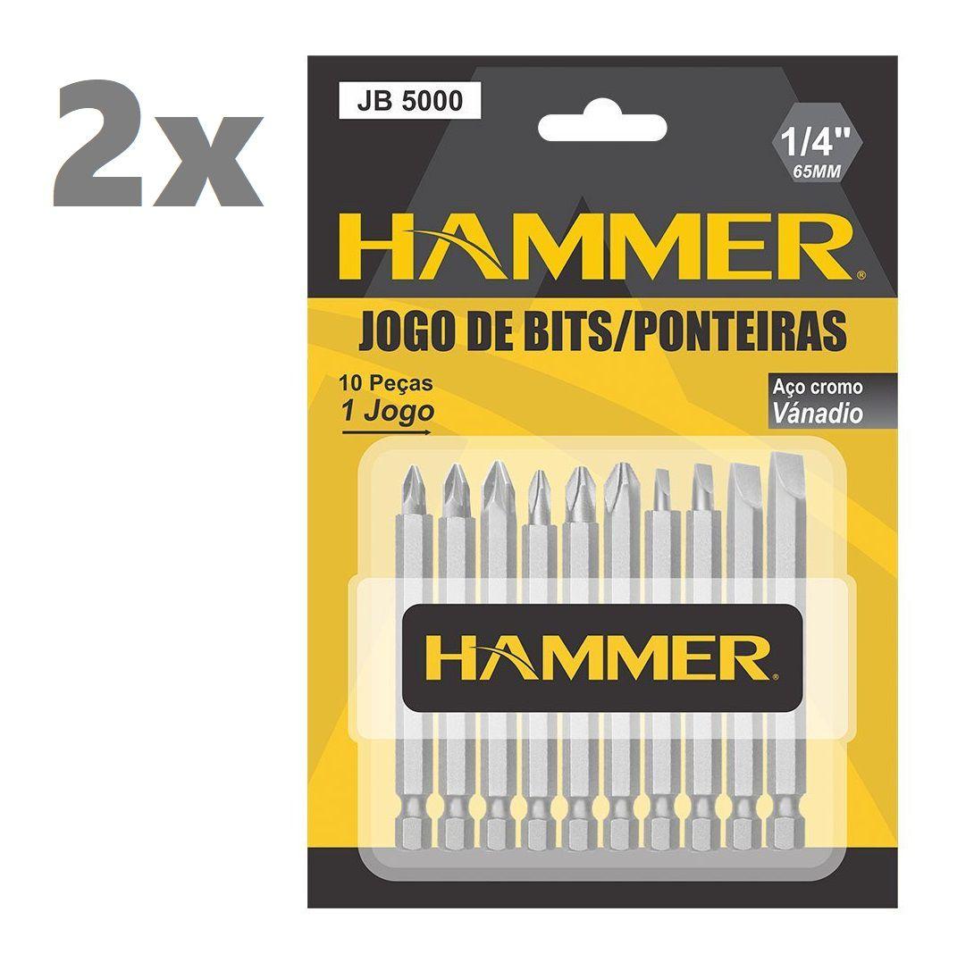 2 Unidades Jogo Bits Ponteira Parafusadeira e Furadeira 10pçs Cada Hammer