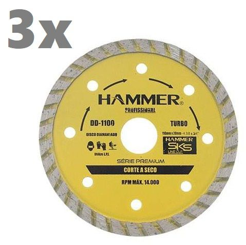3 Unidades Disco Diamantado Turbo 110 x 20mm 4 Pol Hammer