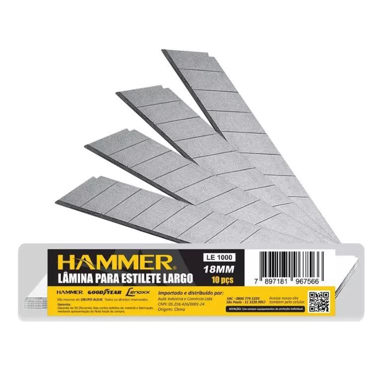 3 Unidades Estilete Emborrachado Profissional C/ 10 Laminas Cada Hammer