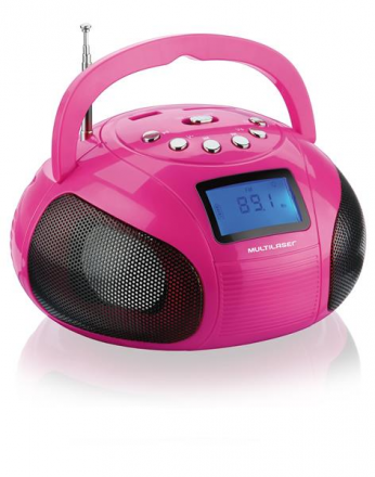 Caixa De Som Mini Boom Box 10w Rosa Multilaser - SP146