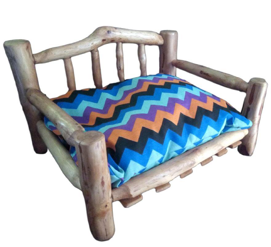 Cama Sofa Pet Mini Para Cachorros Gatos Em Madeira Rustica 60 x 45cm