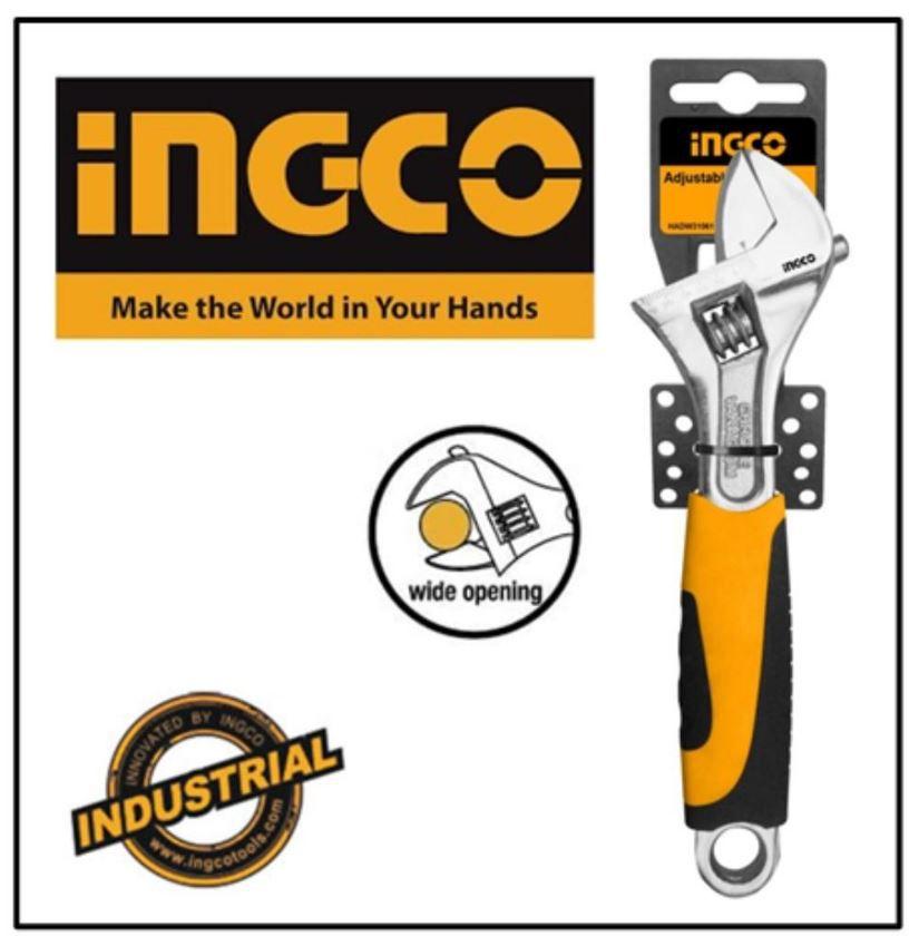 Chave Ajustável Profissional Industrial Com Cabo Emborrachado 10 Pol. INGCO