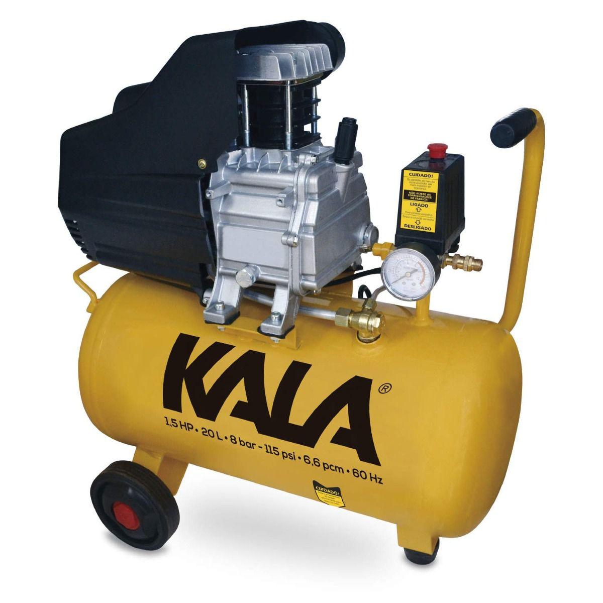 Compressor de Ar 1,5hp 20lts 60hz 3200rpm 127v - Kala