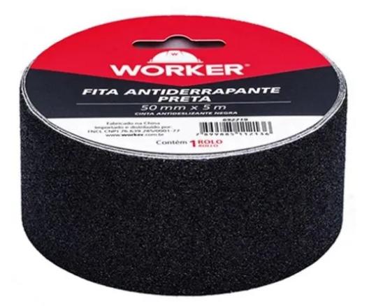 FITA ANTIDERRAPANTE 50,MM X 5M PRETA WORKER