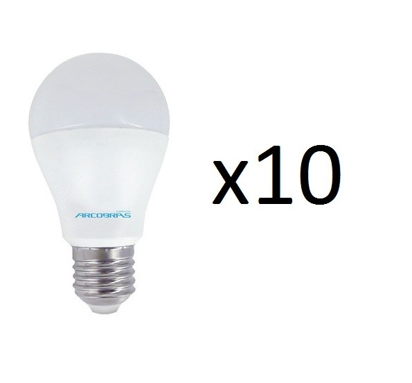 Kit 10 Lâmpadas Bulbo Led Branca ARCOBRAS - 7W