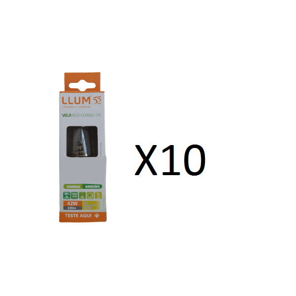 Kit 10 Lâmpadas Vela Halógena Eco Classic Luz Amarela E14 LLUM - 42W 127V