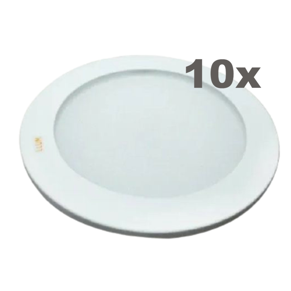 Kit 10 Luminárias LED de Embutir Redonda  Reto 10W 3000K Bivolt LLUM