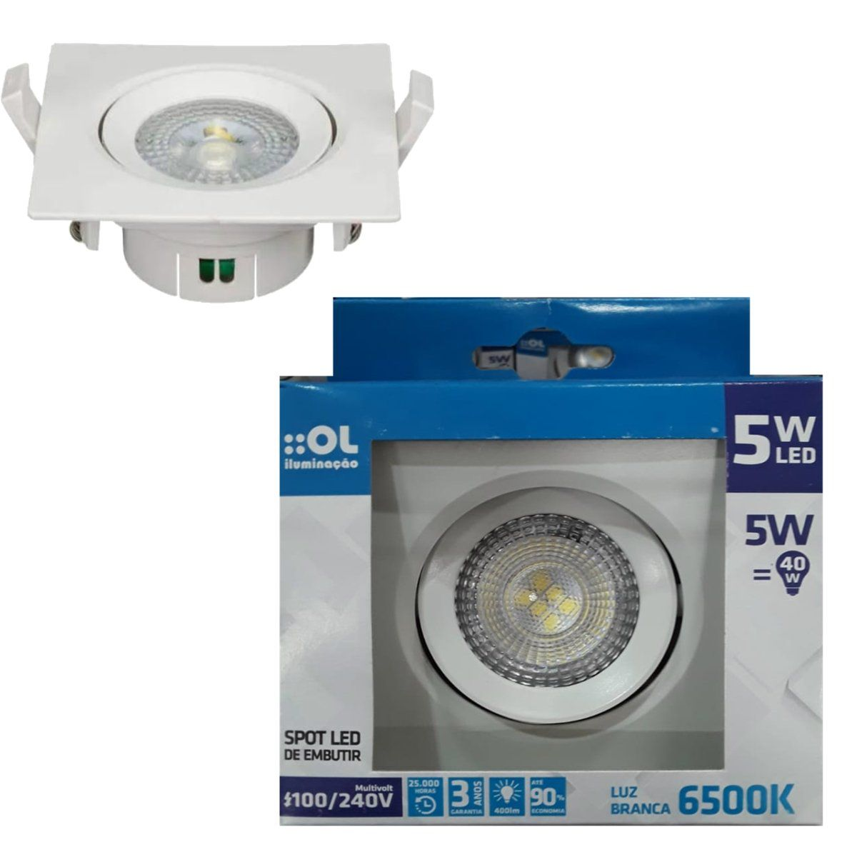 Kit 10 Spot Led 5w Lampada Direcionável Branco Frio 6500K OL