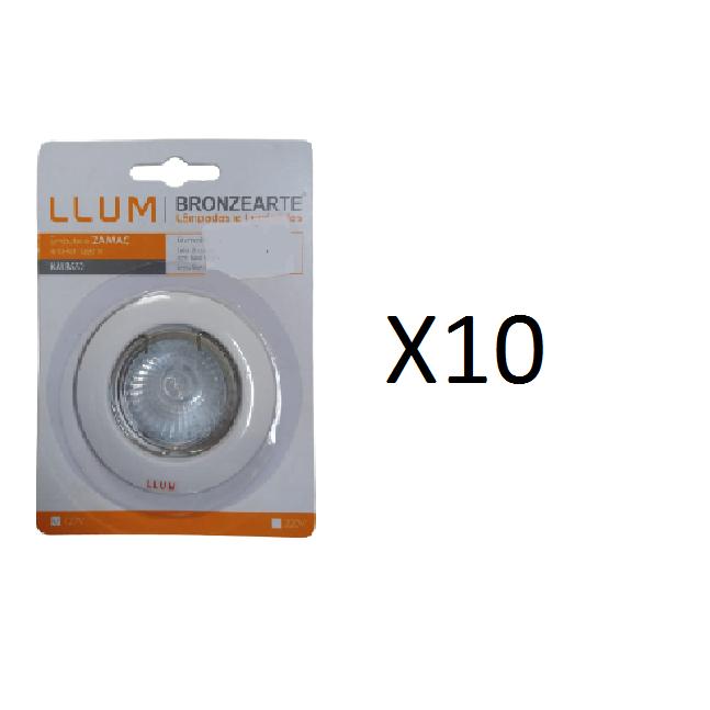 Kit 10 Spots de Embutir Zamak GU10 LLUM - 127V 50W