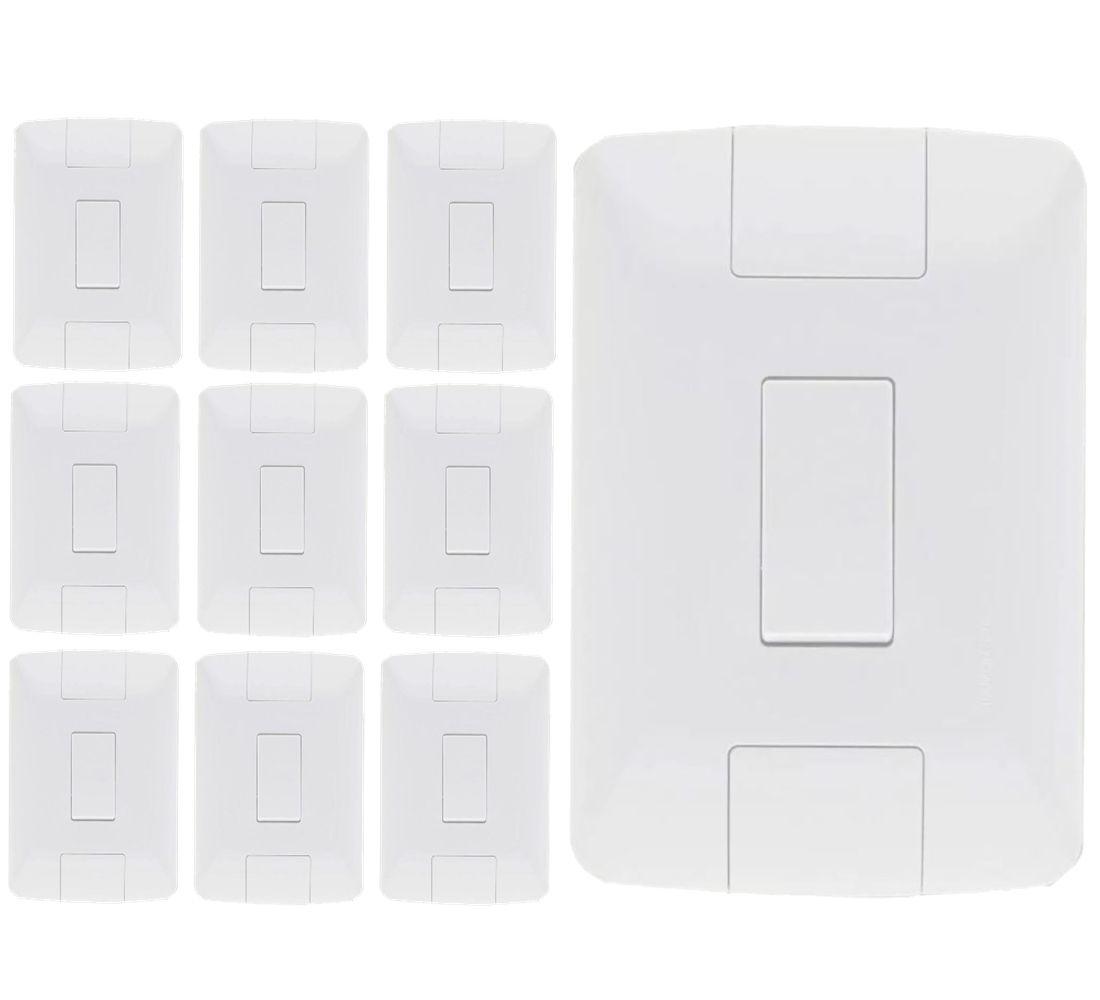 Kit 10 Unidades Interruptor Simples Aria Branco Tramontina 6A/250V