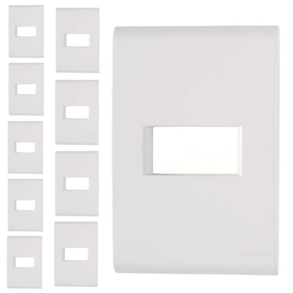 Kit 10 Unidades Placa 4x2 1 Posto Horizontal LIZ Branco Tramontina