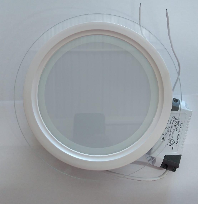 KIT 10un Luminaria Embutir Redonda Vidro 18w Led 3200k Morna Mbtech