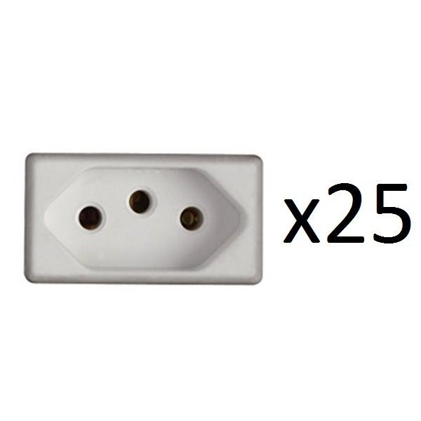 Kit 25 Módulos Tomadas 2P+T 10A 250V GIZ/ LIZ/ TABLET/ LUX²/ CONDULETES/ LIZFLEX Tramontina