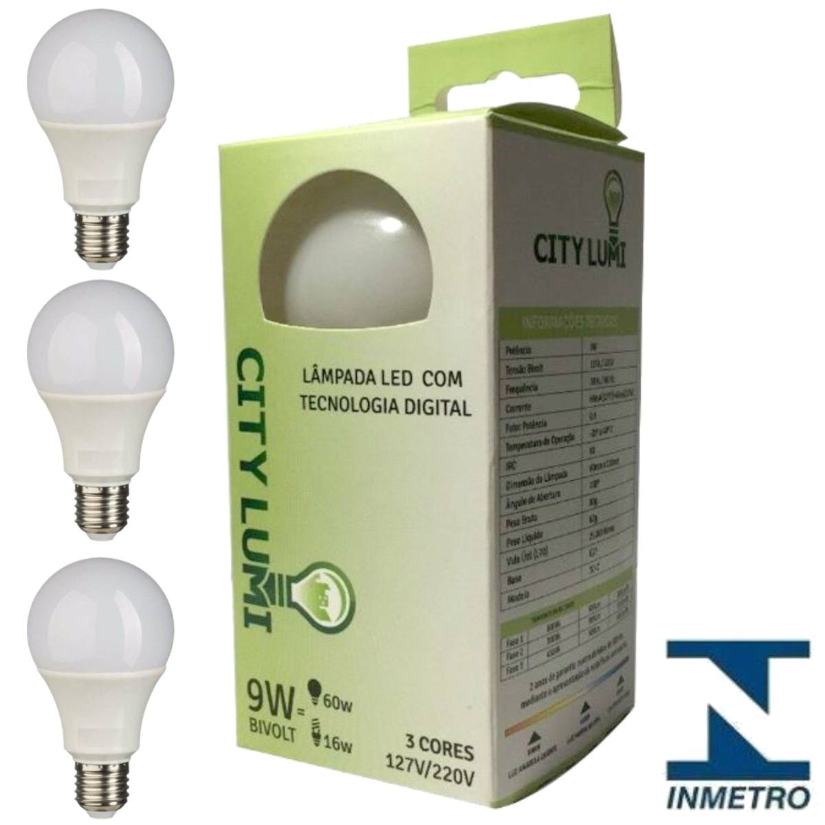 Kit 3 Lampada Led Tres Cores Tecnologia Digital City Lumi