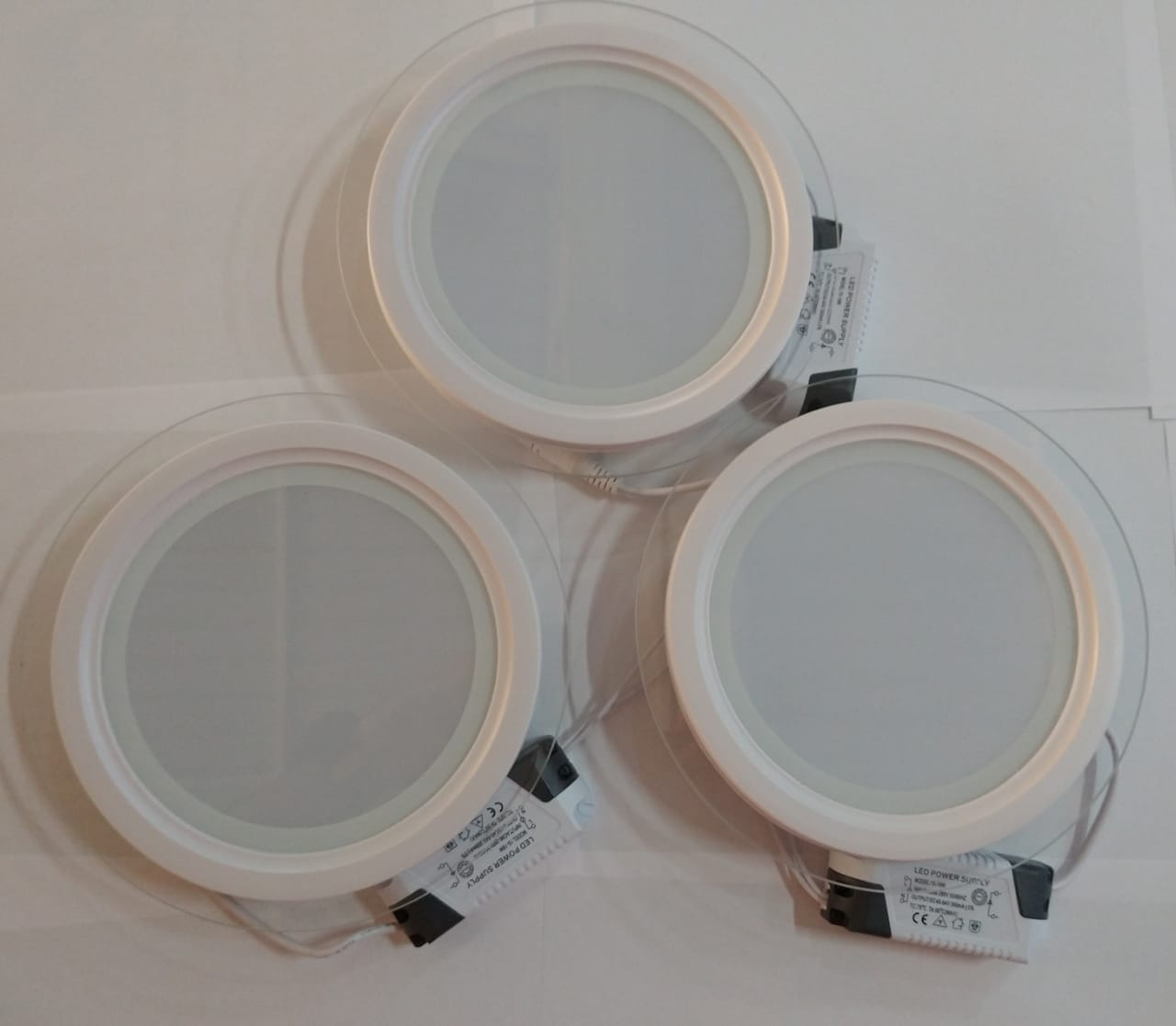 Kit 3 Luminaria Embutir Redonda Vidro 18W LED 3200K Morna MBtech