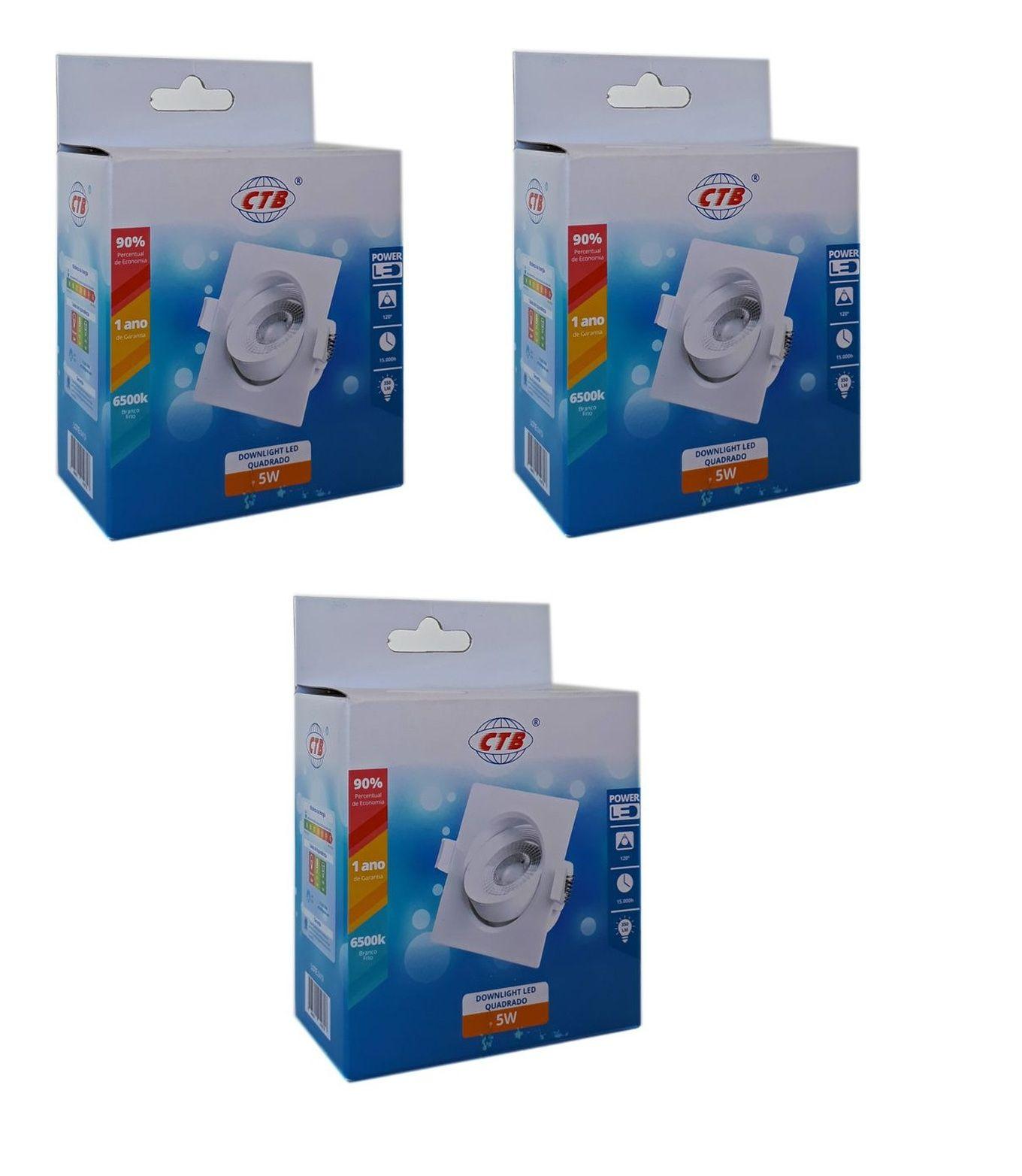 Kit 3 Spots de Embutir Quadrado Branco Frio CTB - 5W
