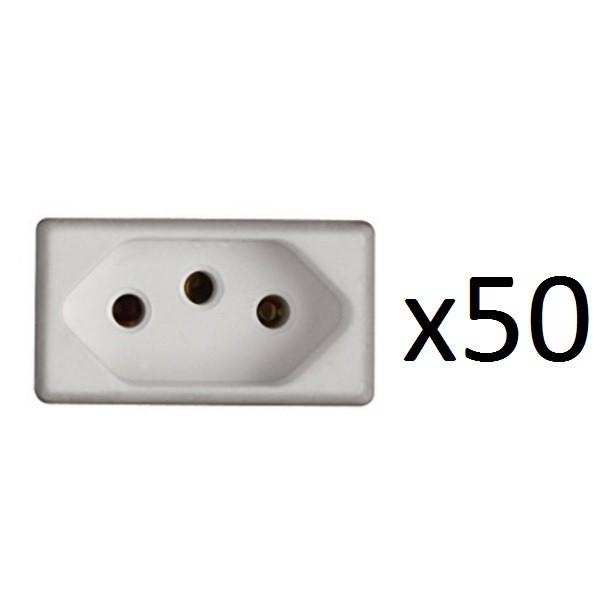Kit 50 Módulos Tomadas 2P+T 10A 250V GIZ/ LIZ/ TABLET/ LUX²/ CONDULETES/ LIZFLEX Tramontina