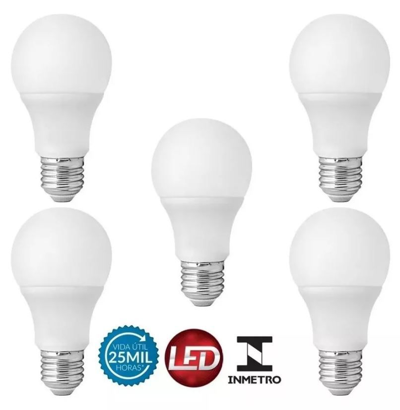 Kit 5 Lampada Led Bulbo 9w Bivolt Soquete E27 A60 Galaxy